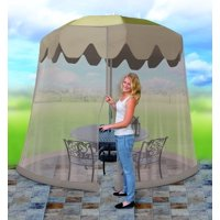 Outdoor 9 Foot Umbrella Table Screen, Grey, Cinch top adjustable closure for a custom fit By IdeaWorks