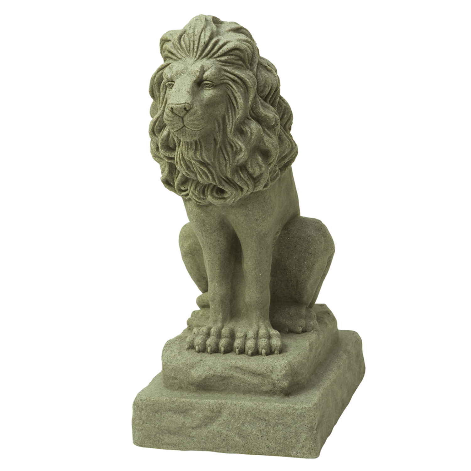 "Guardian Lion Statue – Natural Granite Appearance – Made of Plastic Resin – Lightweight – 28"" Height"