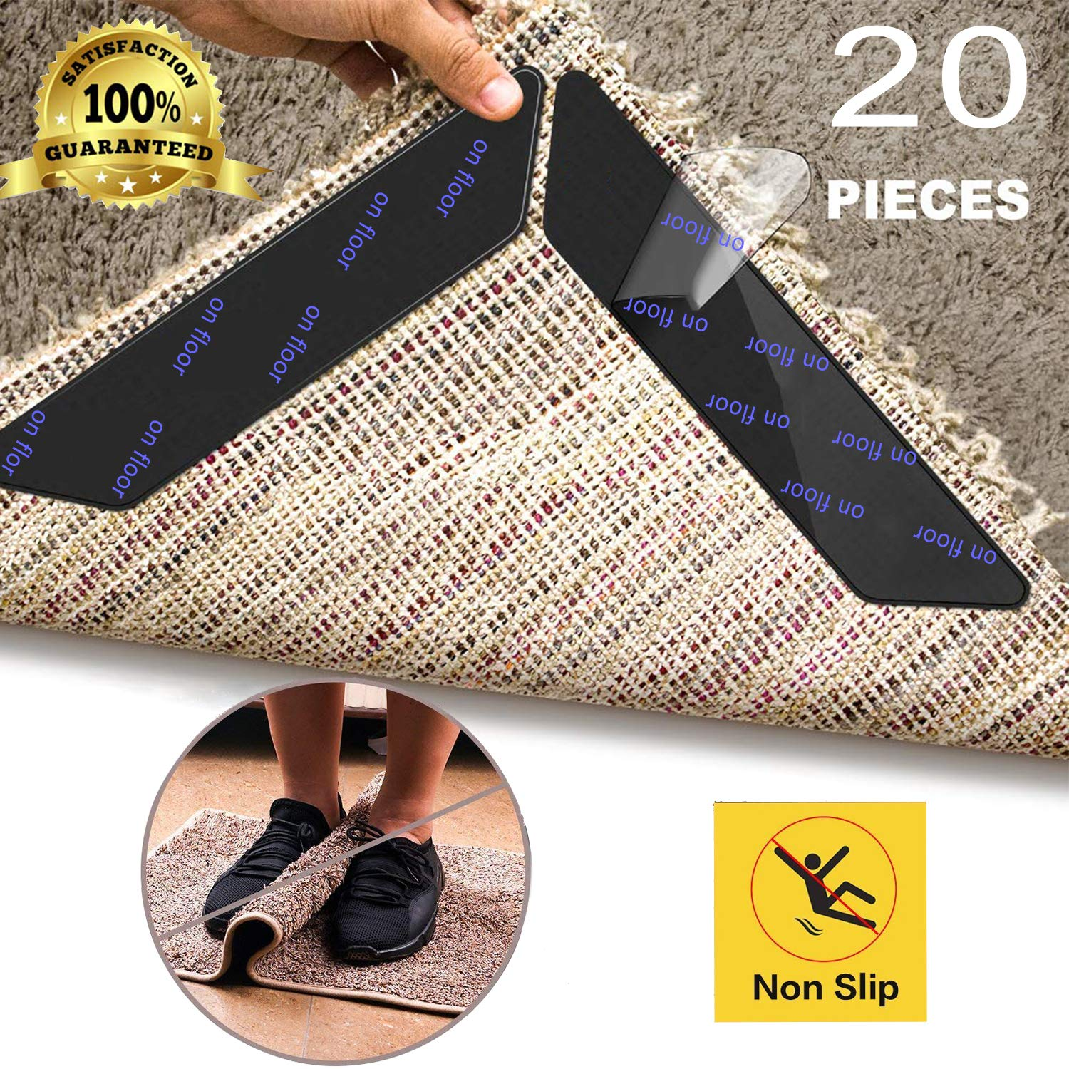 20 Pcs Anti Curling Carpet Tape Rug Grippers Non Slip Rug