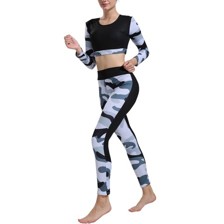 Women Yoga Camouflage Fitness Exercise Long Sleeve Crop Tops +Pants Leggings Set Gym Workout Sports Wear