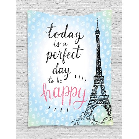 Eiffel Tower Decor Wall Hanging Tapestry Perfect Day Polka Dot Handwriting Typography Sketch