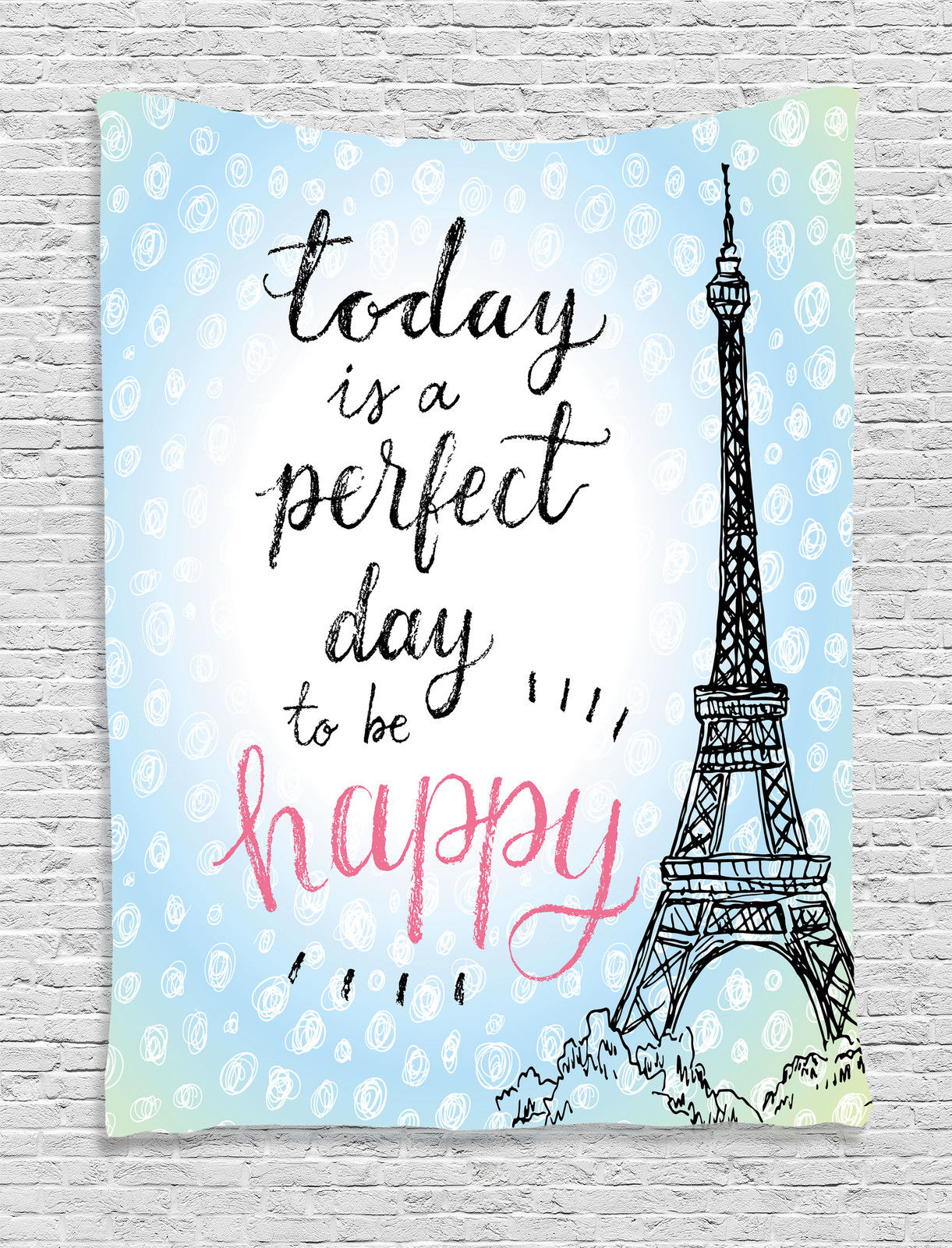 Eiffel Tower Decor Wall Hanging Tapestry, Perfect Day Eiffel Tower Polka  Dot Handwriting Typography Sketch