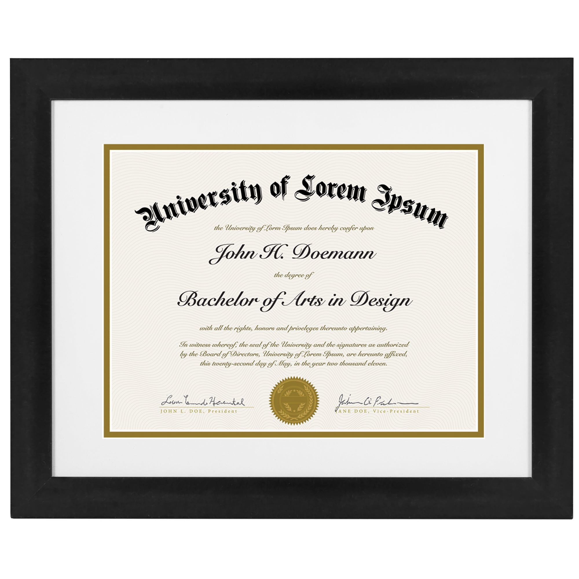 2 Pack 11x14 Black Document Frames Made for Documents Sized 8.5x11 Inches with Mat and 11x14 Inches without Mat