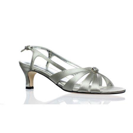 David Tate Womens Rosette (David Tate Womens Rosette Silver Satin Ankle Strap Heels Size 6.5)