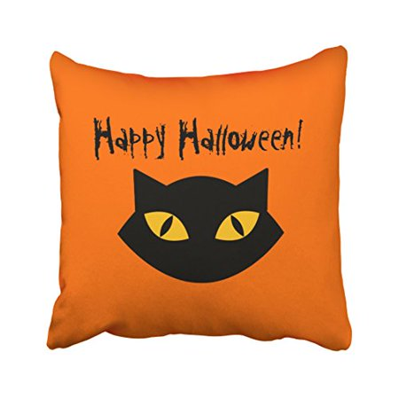 WinHome Modern Funny Happy Halloween Orange And Black Cat Simple Polyester 18 x 18 Inch Square Throw Pillow Covers With Hidden Zipper Home Sofa Cushion Decorative Pillowcases