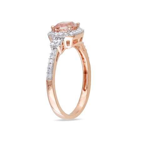 Diamond and Morganite 4/5 Carat (ctw) Ring in 10K Rose Gold - image 2 de 3