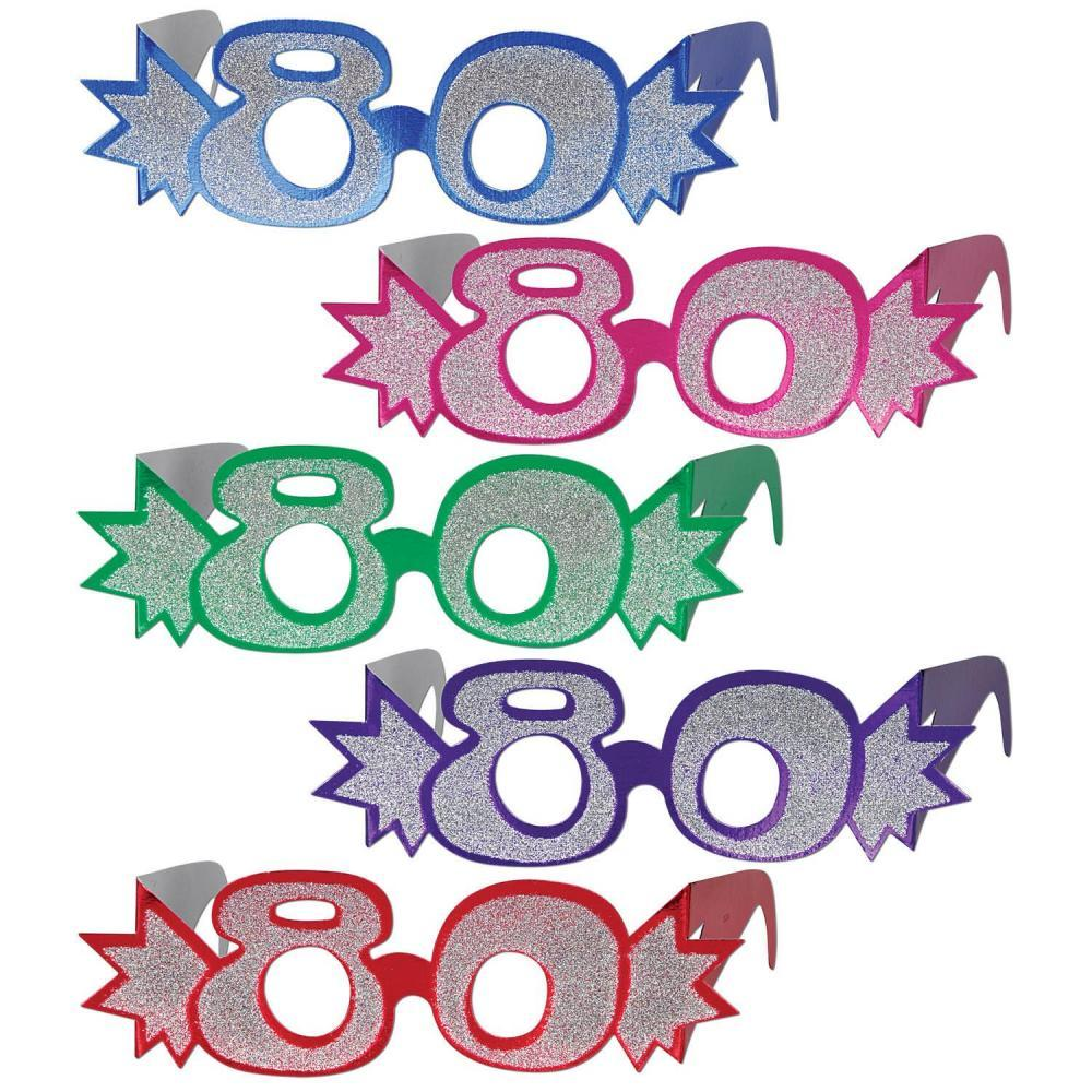 (25ct) Birthday Party ''80'' Glittered Foil Eyeglasses