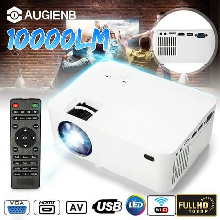 Wifi Projector, 10000 Lumens Long life LED 1080P Full HD LED Home Cinema TV Projector Lcd Multimedia Video Game Projectors Support USB VGA AV TV 37 Lcd Full Hdtv