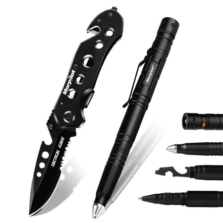 Morpilot EDC Tactical Pen, Best Self Defense EDC Survival Tool - 2 Ink Cartridge 6 Batteries in Gift