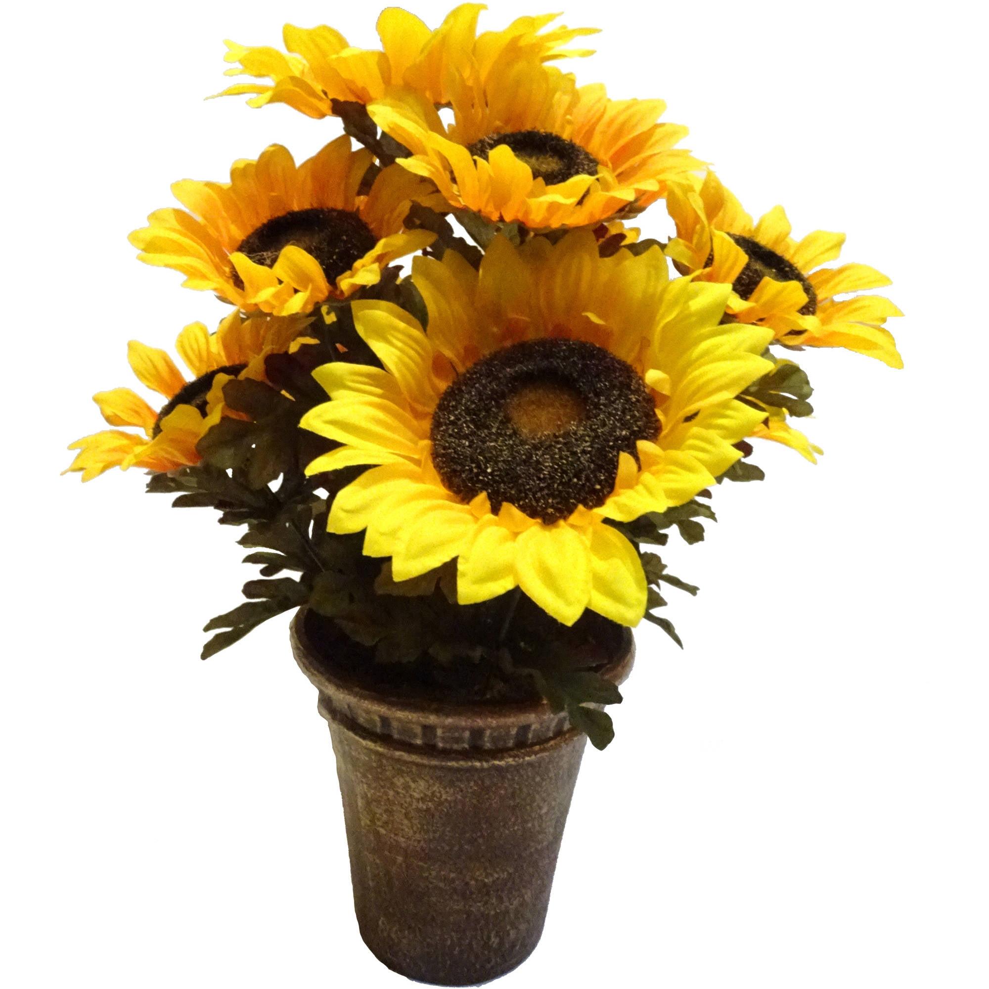 Yellow Sunflower Pot
