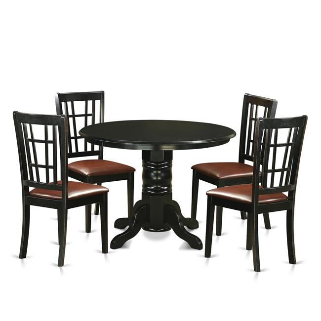 Small Kitchen Table Set With 4 Dining Table 4 Chairs 44 Black 5 Piece Walmart Com Walmart Com