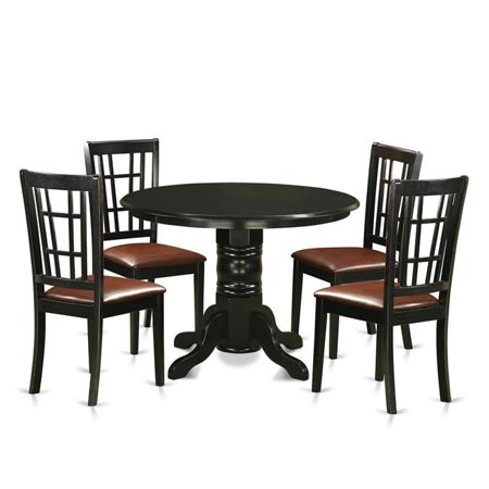 Small Kitchen Table Set with 4 Dining Table & 4 Chairs, Black - 5 Piece