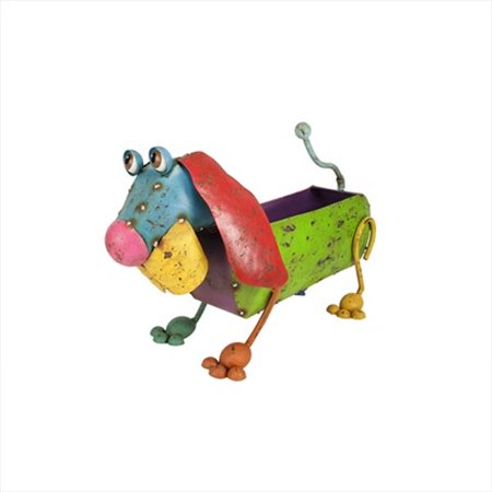 Northlight 17 7 Inch Colorful Speckled Metal Dog Planter