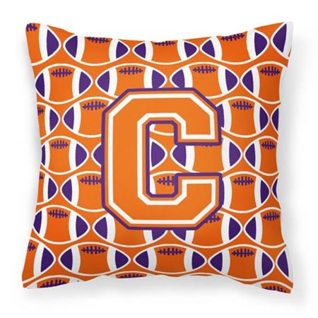 Carolines Treasures CJ1072-CPW1414 Letter C Football Orange, White & Regalia Fabric Decorative Pillow - image 1 of 1