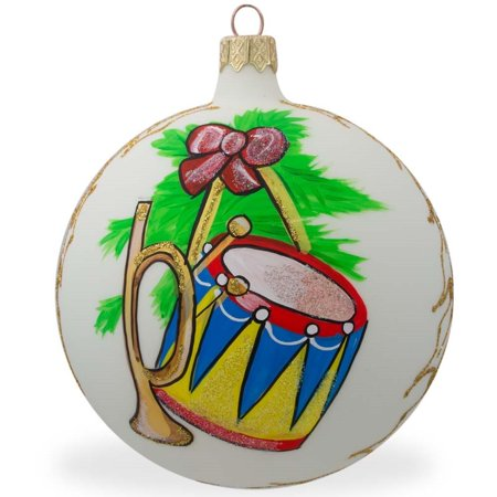 BestPysanky Trumpet and Drum Music Instruments Glass Ball Christmas Ornament 4 Inches ()
