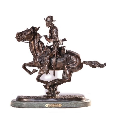 "Image of ""Trooper of the Plains Solid Bronze Sculpture Statue By Frederic Remington medium Size 12""""H x 13""""L x 5.5""""W"""