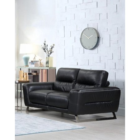 Modern Black Genuine Italian Leather Loveseat Global United 485