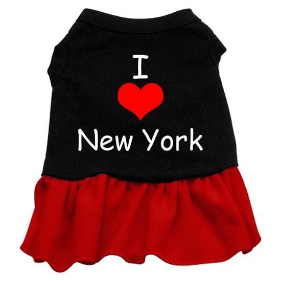 Mirage 58-07 XLBKRD I Heart New York Screen Print Dog Dress Black With Red XL