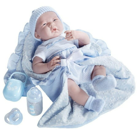"""JC Toys La Newborn 15.5"""" Soft Body Baby Doll Gift Set Deluxe Boutique - Blue Outfit"""