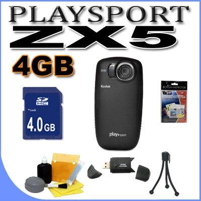 Kodak PlaySport (Zx5) HD Waterproof Pocket Video Camera - Black (2nd Generation) 4GB Accessory Saver Bundle