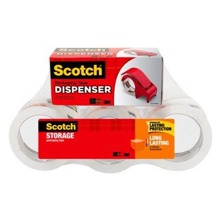 Scotch Long Lasting Storage & Packaging Tape 6 Pack with Dispenser, 1.88 in x 54.6 yd (48 mm x 50 m), 6 Rolls per Pack