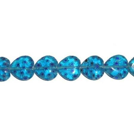 12x12mm blue base Millefiori glass heart shaped beads Jewelry making