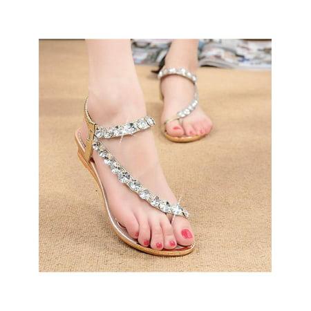 Womens Sandals Silver Diamond Wedding Party Sandal Shoes Low Heels Casual (Diamond Heels)