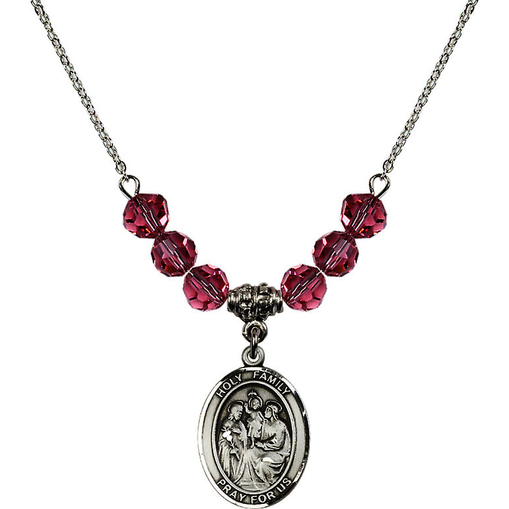 18-Inch Rhodium Plated Necklace with 6mm Rose Pink October Birth Month Stone Beads and Holy Family Charm
