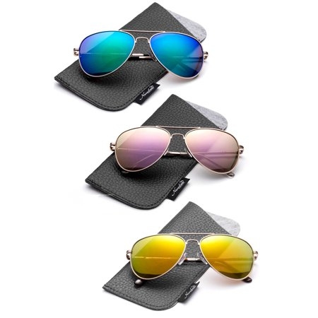 Newbee Fashion -Polarized Kids Teens Juniors Avaitor Polarized Sunglasses High Quality Duralble Staniless Steel Frame Spring Hinge