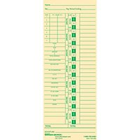 Office Depot Time Cards With Deductions, Weekly, Days 1-7, 2-Sided, 3 3/8in. x 8 7/8in., Manila, Pack Of 100, GB-739992