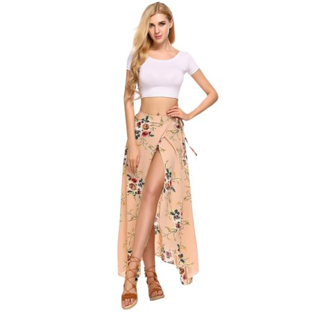 Women Casual Summer Bohemian Style Chiffon Floral Print Side Split Skirt (Bmx Style Side Skirts)