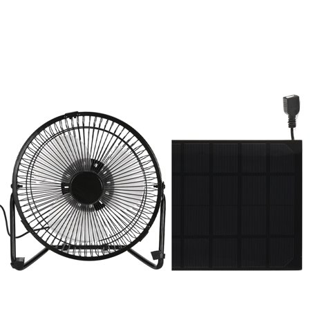 KKmoon Black Solar Panel Powered/USB Iron Fan Outdoor Traveling Fishing Home Office Camping Hiking Picnic Barbecue Cooling Ventilation Car Cooling Fan 4/6 Inch 3W/5W
