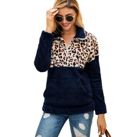 Women Fleece Hoodies Leopard Print Sweater Long Sleeve Hooded Pullover Sweatshirt Autumn Winter Warm Zipper Pocket Fur Coat Plus Size S-3XL Fleece Winter Pullover Sweatshirt
