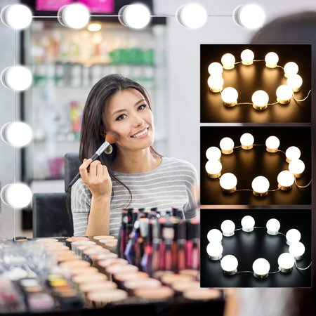 TSV 10 LED Vanity Mirror Lights Kit , Hollywood Style Dimmable LED Light Bulbs , Makeup Lights for Vanity Table Set and Bathroom Mirror