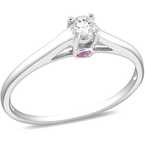 Miabella 1/10 Carat T.W. Diamond and Pink Sapphire Accent Engagement Ring in Sterling Silver