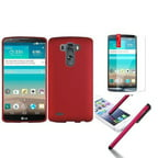Insten Red Plastic Clip On Hard Shell Phone Case Cover For LG G3 Stylus Pen Screen Film Protector