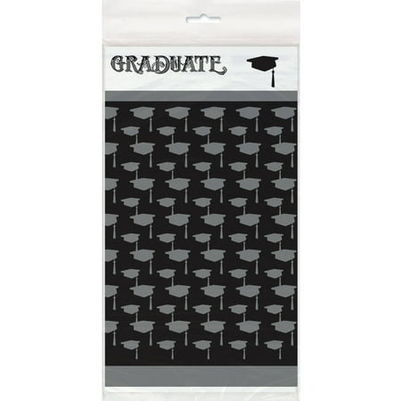 Classic Graduation Plastic Tablecloth, 84 x 54 in, 1ct (Graduation Table Ideas)