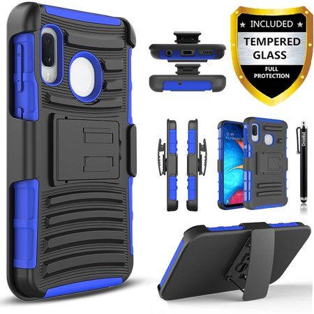 Samsung Galaxy A10e Phone Case, Dual Layers [Combo Holster] And Built-In Kickstand Bundled with [Temerped Glass Screen Protector] Hybird Shockproof And Circlemalls Stylus Pen (Camo)