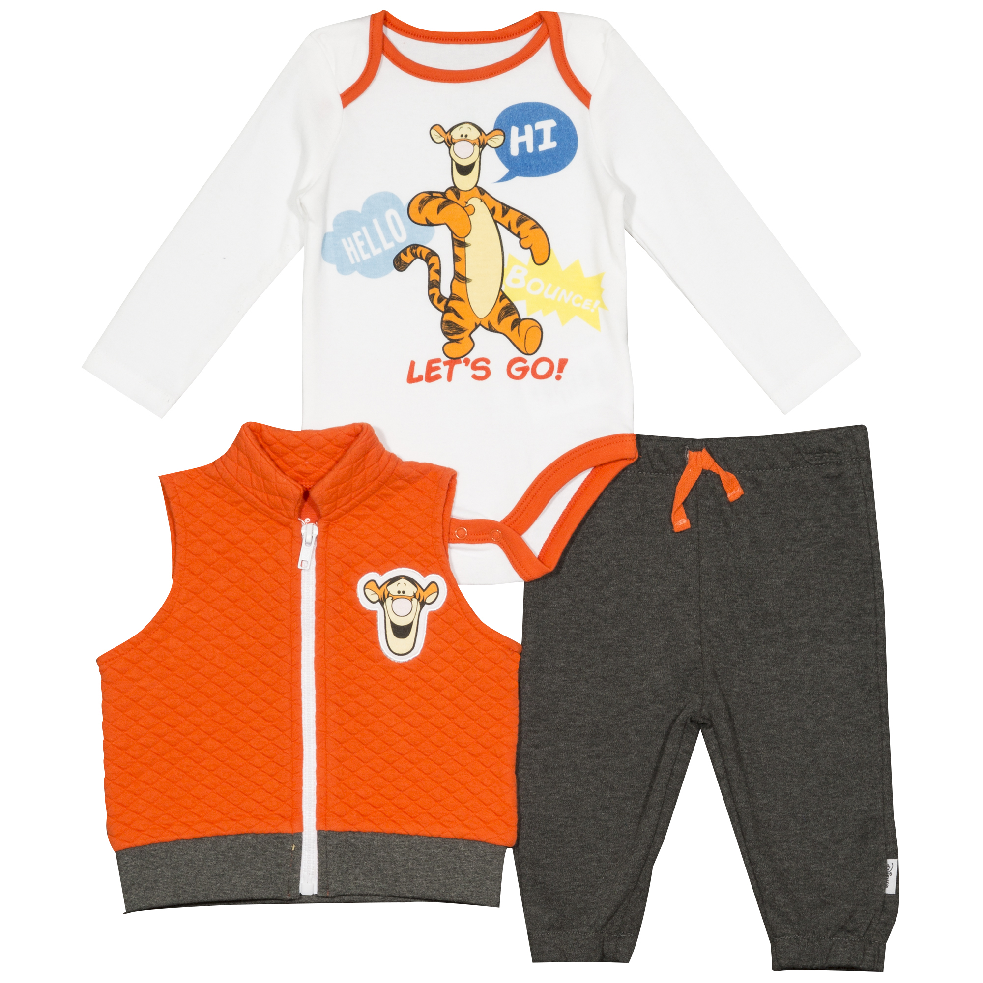Disney Tiger from Winnie the Pooh Newborn Baby Boy Quilted Vest 3pc Jogger Set