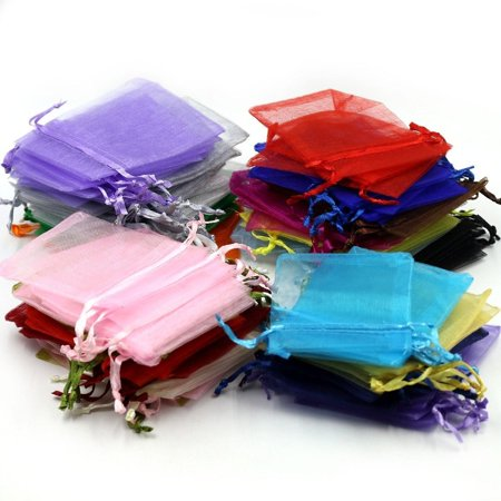 Anniversary Wedding Gift Wrap - 100pc Mixed Colors Jewelry Gift Candy Organza Pouch Wrap Bags for Wedding Party Festival 4X5inch
