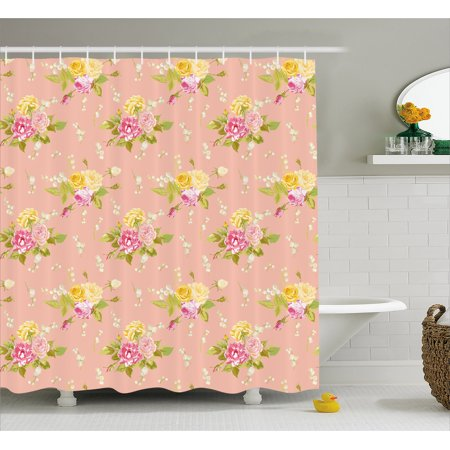Shabby Chic Decor Shower Curtain, Colorful Vintage Roses Corsage Diagonal Pattern Bridal Wedding Theme, Fabric Bathroom Set with Hooks, 69W X 70L Inches, Multicolor, by Ambesonne](Wine Themed Bridal Shower)