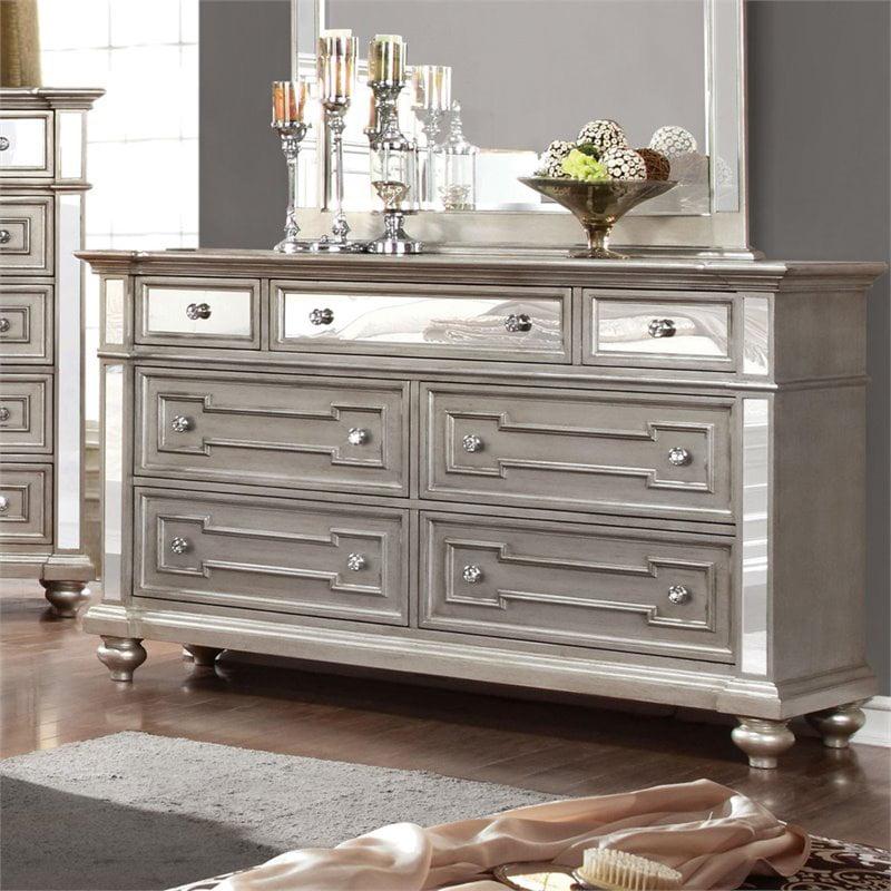 Furniture Of America Farrah 7 Drawer Mirrored Dresser In Silver