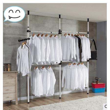 Clothes Rack,YMIKO 4 Poles Adjustable Home Garment Hanger Clothes Rack Simple Closet Wardrobe