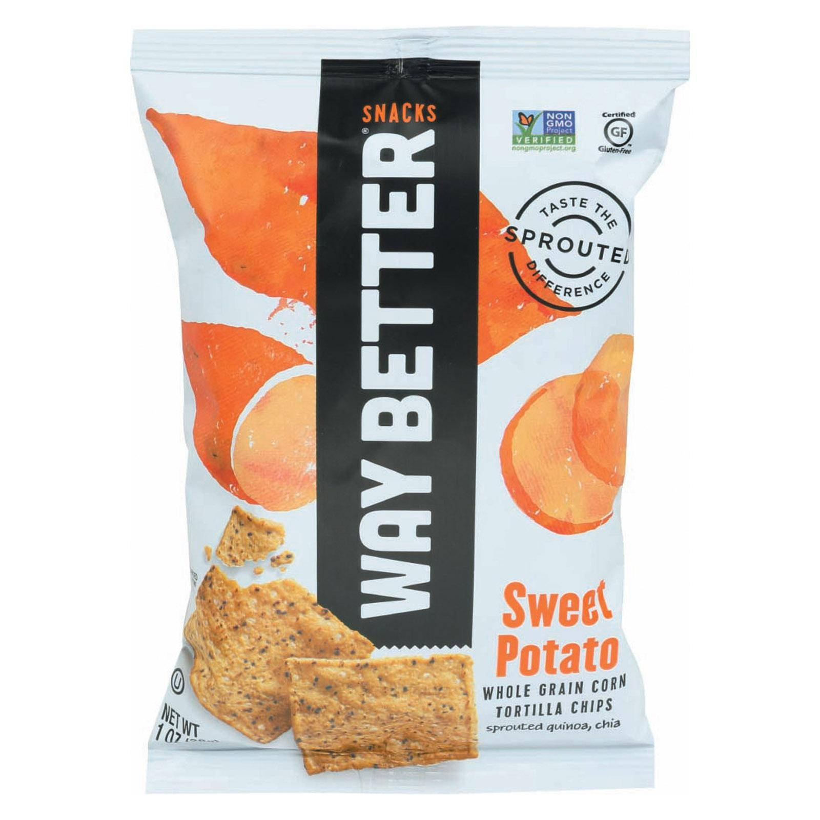 Way Better Snacks Tortilla Chips - Sweet Potato - pack of 12 - 1 Oz.