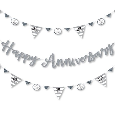 We Still Do - 25th Wedding Anniversary - Anniversary Party Letter Banner Decoration - 36 Banner Cutouts and Happy Annive ()