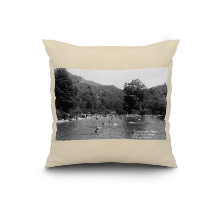 Big Sur, California - Big Sur Lodge and Swimming Pool Photograph (20x20  Spun Polyester Pillow, White Border)