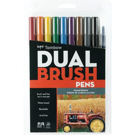 Tombow Muted Color Dual Brush Pens Set, 10 -