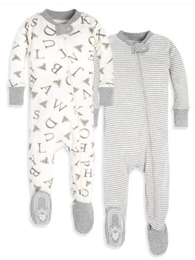 Burt's Bees Baby Organic Cotton Zip Front Footed Pajamas, 2pk (Baby Boys or Baby Girls, Unisex)