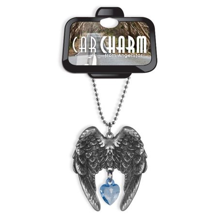 - Angel Wings Sky Blue Crystal Heart Car Charm