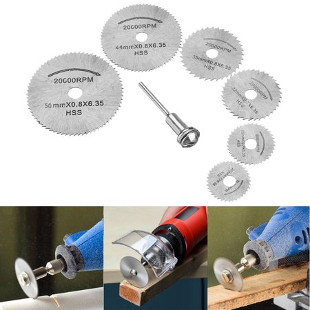 Saw Blades, EEEKit 6-Pack High Speed Steel Mini Circular Saw Blade Set Rotary Tool with Mandrel for Dremel Power Cutting Discs